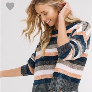 Stripe Chenille Crop Sweater